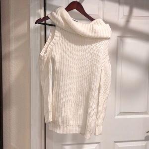 Cold shoulder chunky sweater mock turtleneck